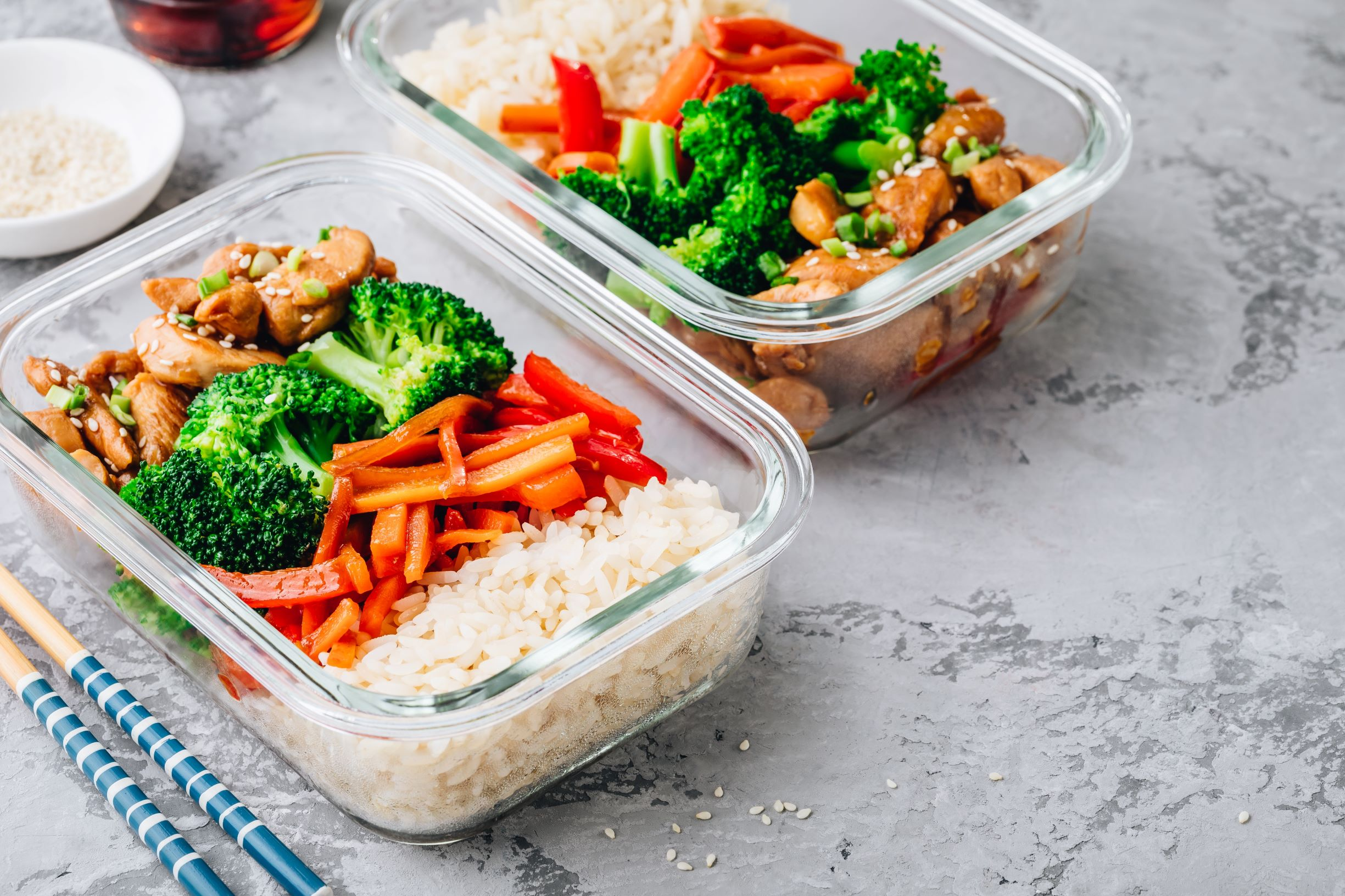 Healthy food in container boxes
